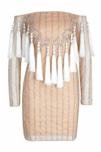 Womens Premium Embellished Off The Shoulder Fringe Dress - Beige - 14, Beige