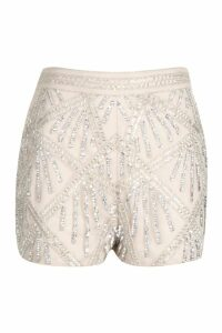 Womens Premium Hand Embellished High Waisted Short - white - 14, White
