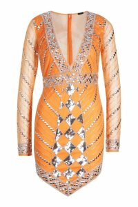 Womens Premium Hand Embellished V Hem Dress - Orange - 10, Orange