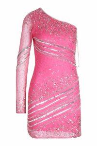 Womens Premium Hand Embellished One Shoulder Mini Dress - Pink - 12, Pink