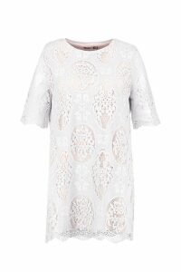 Womens Plus All Over Lace Shift Dress - white - 20, White