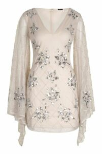 Womens Premium Hand Embellished Kimono Sleeve Dress - white - 8, White