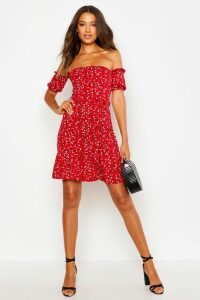 Womens Tall Ditsy Floral Off The Shoulder Skater Dress - red - 16, Red