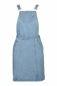 Womens Tall Denim Pinafore Dress - Blue - 16, Blue