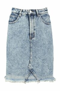 Womens Tall Acid Wash Denim Skirt - Blue - 8, Blue