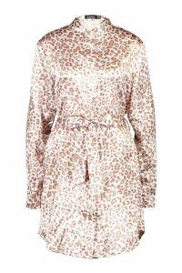 Womens Tall Leopard Print Belted Shirt Dress - brown - 12, Brown