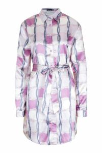 Womens Tall Chain Print Belted Shirt Dress - purple - 10, Purple