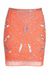 Womens Premium Hand Embellished Mini Skirt - orange - 14, Orange