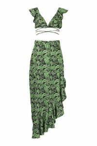 Womens Tall Leaf Print Ruffle Maxi Skirt Co-ord - black - 16, Black