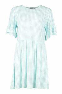 Womens Tall Gingham Smock Dress - blue - 16, Blue