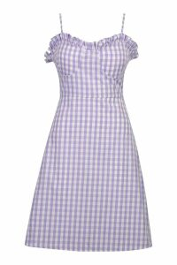 Womens Tall Bustier Gingham Skater Dress - purple - 16, Purple