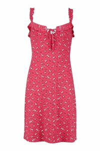 Womens Tall Ditsy Floral Lace Up Skater Dress - red - 12, Red