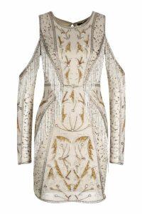 Womens Premium Embellished Open Back Fringe Mini Dress - Beige - 14, Beige