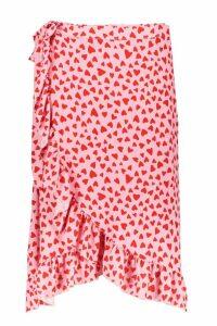 Womens Woven Heart Print Ruffle Midi Skirt - Pink - 16, Pink