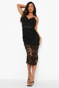Womens Lace Panelled Open Back Midi Dress - black - 10, Black