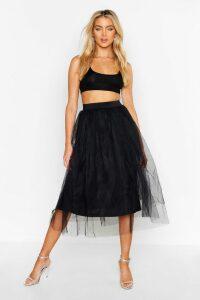 Womens Full Tulle Midi Skirt - black - 12, Black