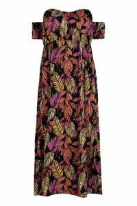 Womens Plus Palm Off Shoulder Maxi Dress - black - 18, Black
