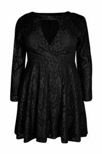 Womens Plus Lace Skater Dress - black - 20, Black