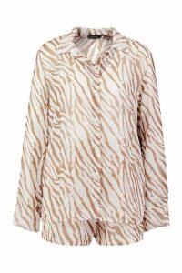 Womens Tiger Shirt & Short Beach Co-Ord - brown - M, Brown