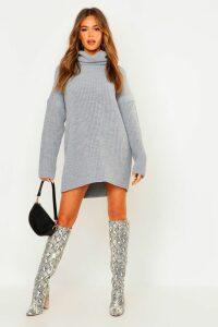 Womens Roll Neck Jumper Dress - grey - S, Grey