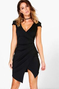 Womens Cap Sleeved Wrap Detail Bodycon Dress - black - 6, Black