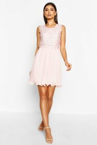 Womens Boutique Corded Lace Pleated Skater Dress - pink - 6, Pink