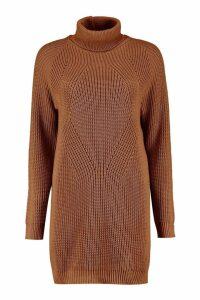 Womens Roll Neck Cable Detail Dress - beige - M/L, Beige
