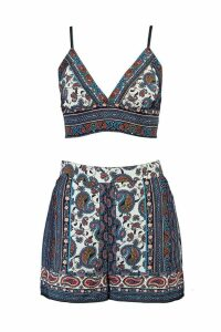 Womens Paisley Bralet and Short Co-ord - multi - 12, Multi