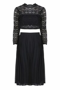 Womens Boutique Lace Top and Midi Skirt Set - black - 14, Black