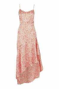 Womens Ruffle Hem Strappy Leopard Midaxi Slip Dress - orange - 16, Orange