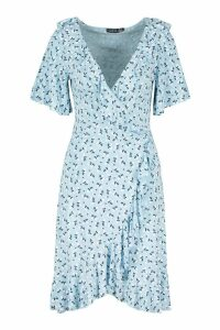 Womens Tall Ditsy Floral Ruffle Wrap Dress - blue - 16, Blue