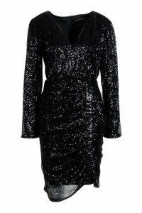 Womens Premium Sequin Ruched Side Bodycon Dress - black - M, Black