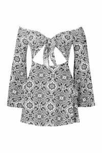 Womens Bandana Print Off Shoulder Dress - black - 14, Black