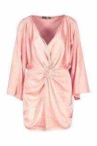 Womens Satin Print Twist Front Mini Dress - Beige - 12, Beige