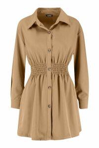 Womens Tonal Utility Shirred Waist Shirt Dress - beige - 16, Beige
