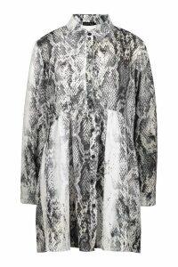 Womens Snake Print Oversized Smock Dress - grey - 16, Grey