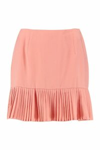 Womens Woven Pleated Hem Mini Skirt - orange - 14, Orange
