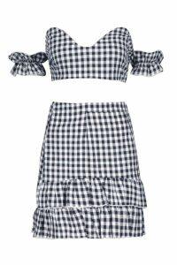 Womens Woven Gingham Twist Top + Skirt Co-Ord - black - 14, Black