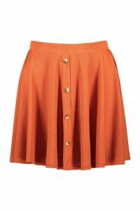 Womens Basic Button Front Ribbed Skater Mini Skirt - orange - 12, Orange
