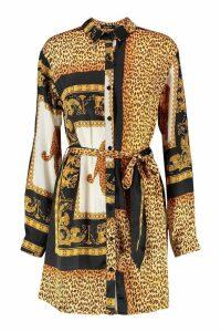 Womens Leopard Scarf Print Shirt Dress - black - 16, Black