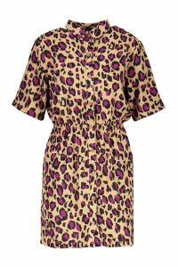 Womens Woven Leopard Button Through Shirt Dress - beige - 10, Beige