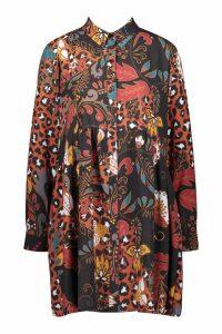 Womens Boho Mix Print Oversized Smock Dress - black - 12, Black