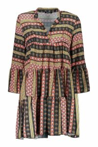 Womens Boho Mixed Print Smock Dress - red - 14, Red