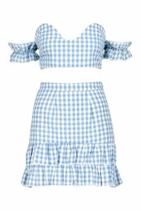 Womens Woven Gingham Twist Top + Skirt Co-Ord - blue - 14, Blue