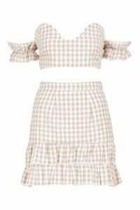 Womens Woven Gingham Twist Top + Skirt Co-Ord - cream - 10, Cream