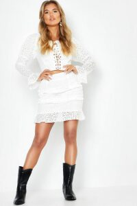 Womens Woven Broidery Lace Up Top + Mini Skirt Co-Ord - white - 8, White