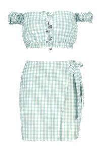 Womens Gingham Bardot Tie Detail + Wrap Skirt Co-Ord - green - 14, Green