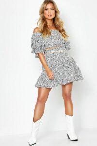 Womens Woven Spot Ruffle Sleeve + Skirt Co-Ord - white - 14, White