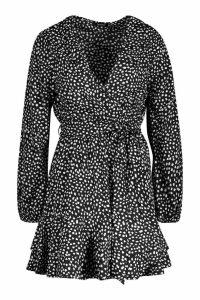 Womens Wrap Front Ruffle Hem Tea Dress - black - 16, Black