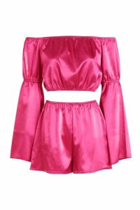 Womens Volume Sleeve Bardot Crop Top + Short Co-Ord - Pink - 6, Pink